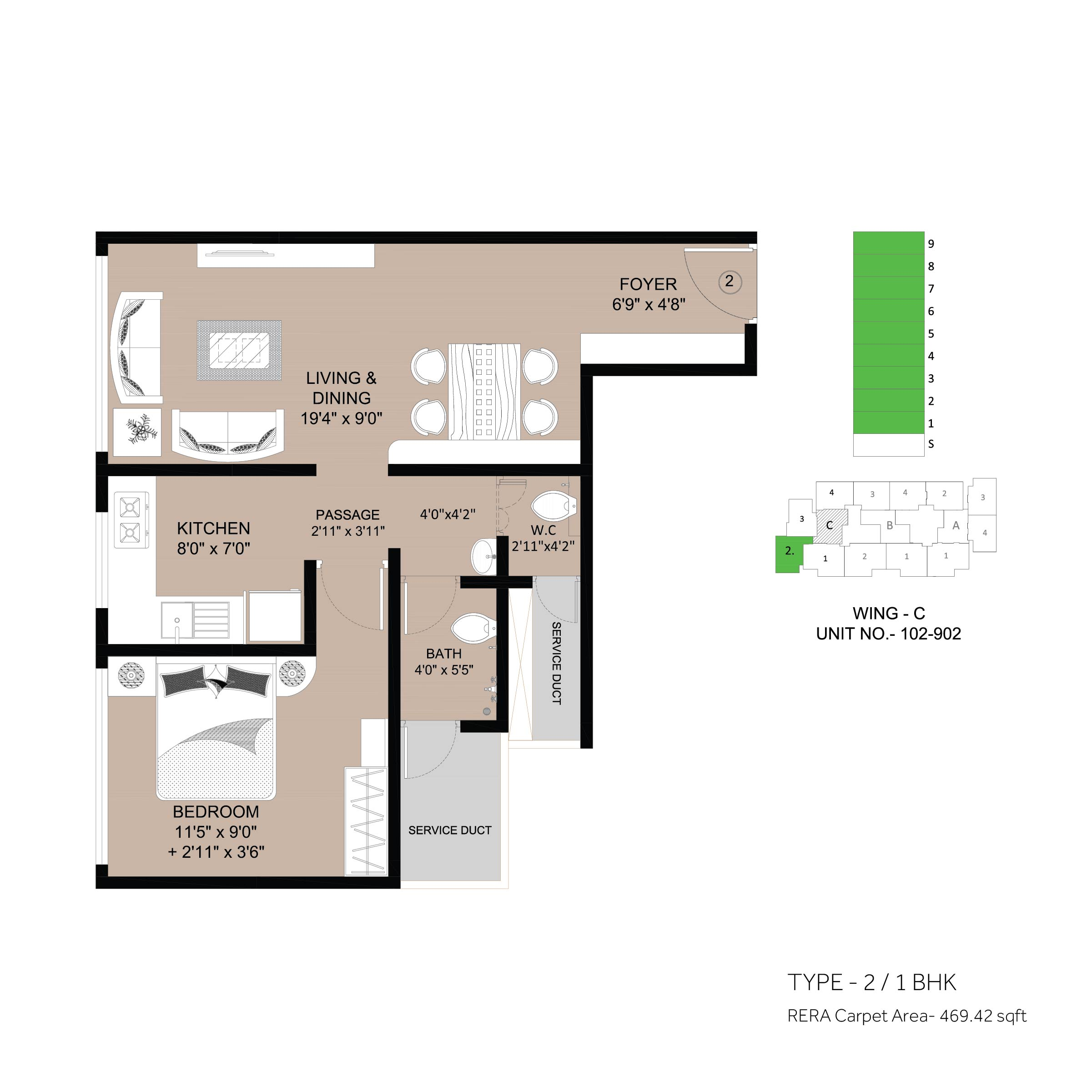 floor plan 1 BHK